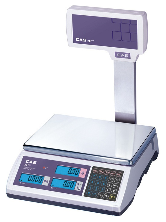 CAS ER-Plus 15kg x 5g/30kg x 10g Dual Range Price Computing Retail Scale With Pole Display